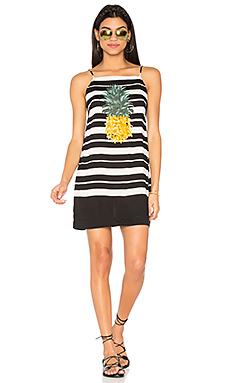 条纹菠萝图案连衣裙