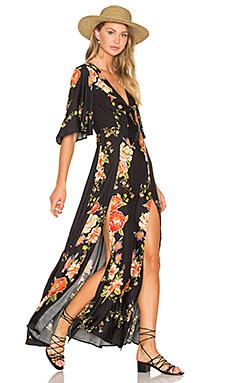 Slit Maxi Dress in Flower Sidewalk