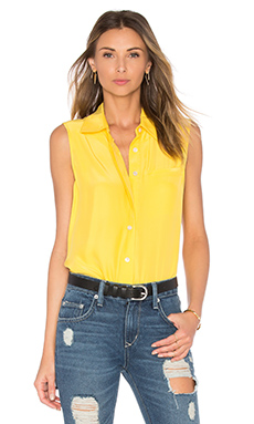 Le Sleeveless Button Up in Canary Yellow