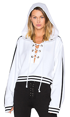 Rising Sun Lace Up Sweatshirt in in White