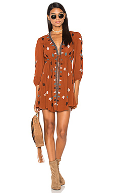 Star Gazzer Embroidered Dress in Brown Combo