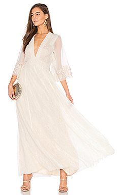 Eclair Embroidered Maxi Dress in Ivory