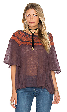 Lock Lomand Flutter Sleeve Top in Purple Combo