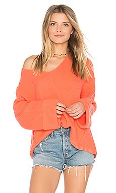 La Brea V Neck Sweater in Coral
