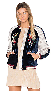 Floral Embroidered Bomber in Navy