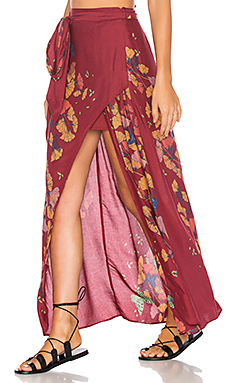 Bri Bri Butterfly Maxi Skirt in Red Combo