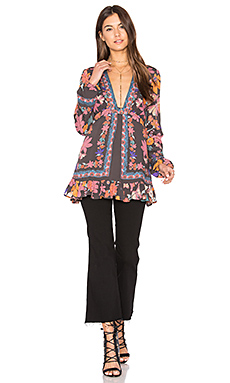 Violet Hill Printed Tunic Top – 黑色