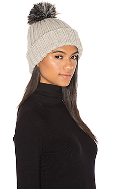 Dani Beanie with Faux Fur Pompom in Stone