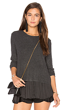 Wilma Pleats Top en Anthracite & Noir