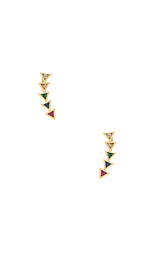 Vivienne Ear Climbers – Rainbow Mix CZ & Gold