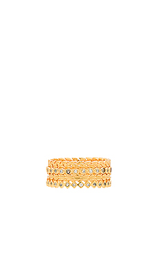 Mini Stackable Ring Set in White & Gold