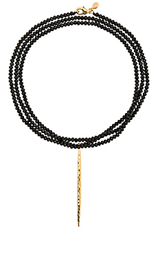 Nora Beaded Long Necklace en Black Crystal & Gold