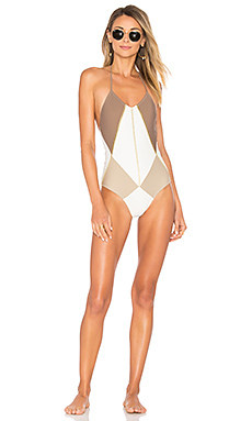 Isadora One Piece in Brown Sand & White