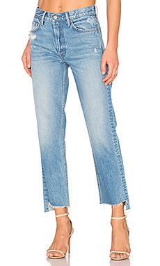 HELENA 小码高裆直筒九分牛仔裤