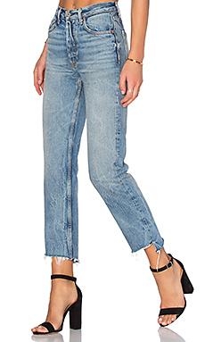 HELENA 小码高裆直筒牛仔裤