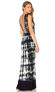 V Neck Lace Maxi Dress in Derek Charcoal
