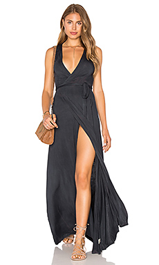Wrap Maxi Dress in Sitra Black