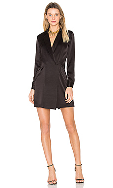 Satin Shirt Dress in Black