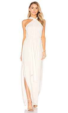 Sleeveless Knot Drape Neck Gown en Blanc