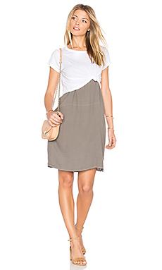 Cropped Tee With Slip Dress – Ash Green & White