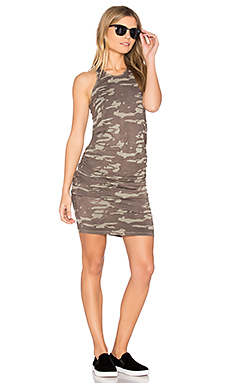 Neutral Camo Shirred Dress – Ash Green