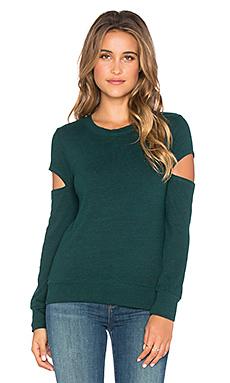 Heather Fleece Open Sleeve Sweatshirt en Vert Sapin