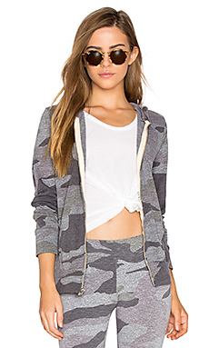 Oversized Camo Zip Up Hoodie en Gris Foncé Chiné