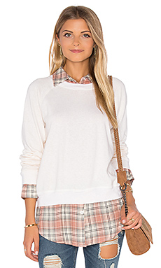 Plaid Double Layer Sweatshirt en Ivory