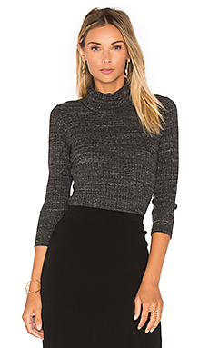 Stretch Rib Turtleneck in Charcoal
