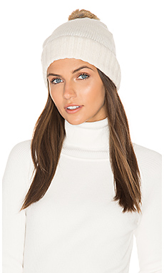 Rabbit Fur Pom Cashmere Beanie – Ivory & Brown
