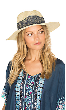 Wide Stripe Fedora en Naturel & Marine