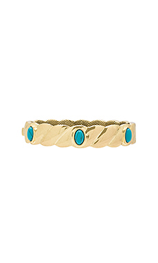 Ribbed Valda Bangle en Or & Turquoise