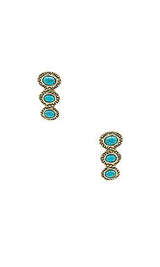 Tanta 3 Stone Ear Crawler en Or & Turquoise