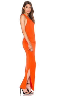 Shirred Midi Tank Dress in Blood Orange