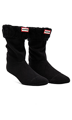 6 Stitch Cable Boot Sock en Noir