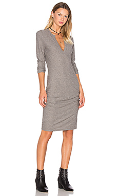 Henley Dress in Charcoal Melange