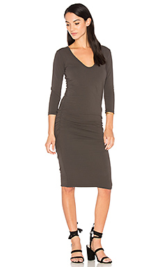 V Neck Skinny Dress en Charbon