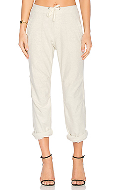 Heathered Knit Twill Pant en Chiné Naturel