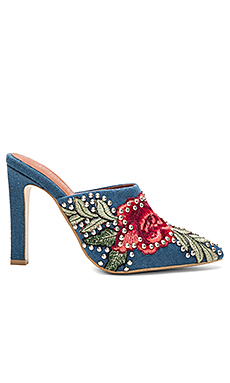 Amanda Heel in Blue Denim Red Combo