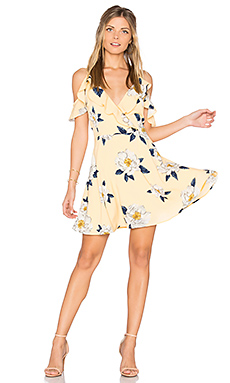 Flower Print Cold Shoulder Flare Dress en Imprimé Jaune
