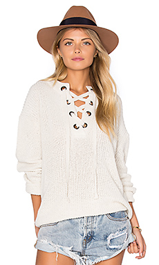 Lace Up Sweater in Ivory