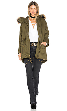 Drawstring Jacket with Faux Fur Trim en Kaki