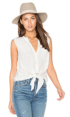 Edalette Button Down Tank in Porcelain & Caviar