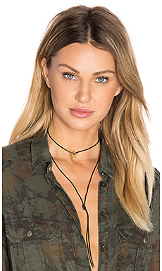 Star Wrap Cord Choker in Black Leather & Gold