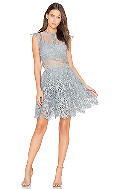 Manhattan Lace Mini Dress in Sky