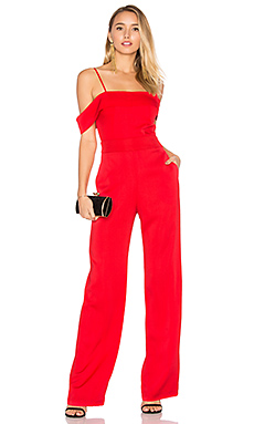 Allie Solid Jumpsuit en Rouge