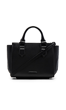 Brook Medium Satchel Bag in Black Snake
