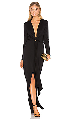 Deep V Tie Front Maxi Dress en Noir