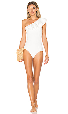 Arden Double Ruffle One Piece en White Bonded