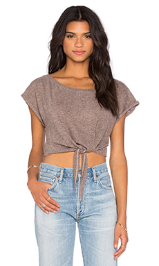 Cropped Tie Tee in Satin